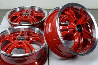 "14"" Red Wheels Rims Integra Honda Accord Civic Prelude Mazda Miata Jetta Passat"