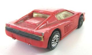 Red Ferrari Old Diecast Car Toy Hot Wheels Mattel Inc 1986 X