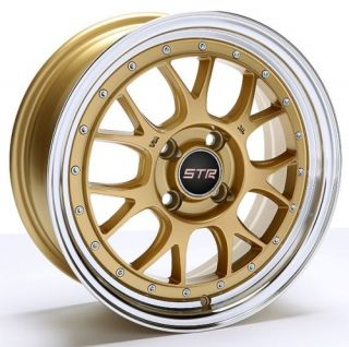15 inch STR502G Gold Mach Rims and Tires 4x100 Accord Civic Fit Prelude Integra