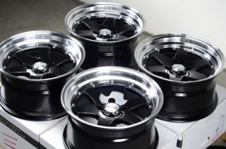 15x8 Effect Wheels Rims 4x100 Black 0mm Offset Civic Corolla Cobalt Accord Neon
