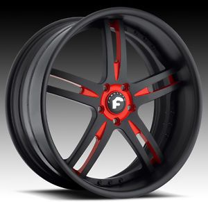 "19x8 5 20x13"" Forgiato Pianura Black Red Wheels Lamborghini Murcielago"
