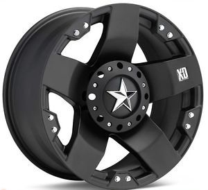 New 17x8 KMC XD Rockstar Black Wheels Rims 6LUG Chevy F150 Truck 6x5 5 6x135 Set
