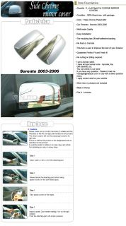03 06 Kia Sorento Chrome Mirror Full Cover 2pc Kit