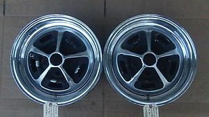 14 x 6 JK Unistyle GM Pair Chrome Rally Wheels Buick Chevy Olds Pontiac