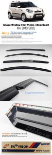 Smoke Window Vent Visors Rain Guards Sun Shield for Kia 2013 Soul