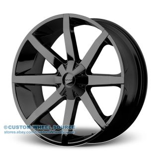"26"" KMC Slide Black Rims for Cadillac Chevy Chevrolet Wheels"