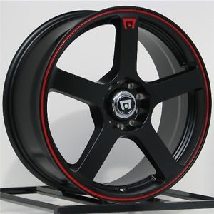 18 inch Wheels Rims Motegi Racing Black with Red MR116 5x100 5x114 3 5 Lug New