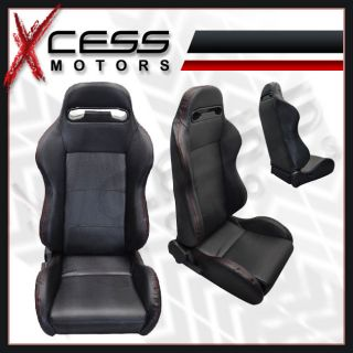 Mazda Miata PVC Leather Carbon Fiber Look Racing Seats Reclinable w Red Stitch