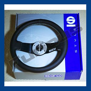 Sparco Black Leather White Stitched Deep Dish Steering Wheel