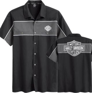 Harley Davidson Men's Reflective Garage Blk Cotton Blend Shirt Rtl $65 Sale $40