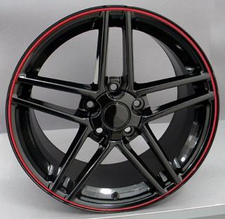 "19"" Corvette Black C6 Z06 Wheel Red Lip Rim Fits Chevrolet Camaro SS Firebird"