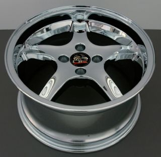 "17"" Chrome Cobra 4 Lug Deep Dish Wheel 17x9 Rim Fits 79 03 Mustang® GT V8 V6"