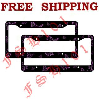 New Set of 2 Purple Butterfly Plastic Car Truck License Plate Frames