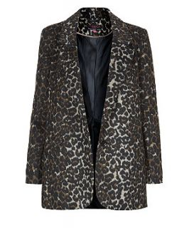 Brown Leopard Print Boyfriend Coat