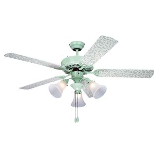 'Vines' 52 inch Green and White Patterned 3 light Ceiling Fan Sea Gull Lighting Ceiling Fans