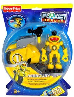 "Fisher Price Year 2007 Planet Heroes Basic Series 5 Inch Tall Action Figure   MERCURY ""ZIP"" with Removable Laser Beam Shooter, Space Vehicle and Trading Card Toys & Games"