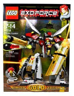 Lego Year 2007 Limited GOLD Edition Exo Force Series Mecha Vehicle Figure Set # 7714   GOLDEN GUARDIAN with Unique Gold Color Feature, Giant Golden Shield, Mega Cannon Arms with Missile Plus Ha Ya To with Gold Detail Minifigure and Special Web Code (Total