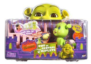 MGA Entertainment Year 2007 Dreamworks Shrek Out of Control Triplets Series 4 Inch Long Silly Baby Ogre with Talk and Motion Figure   Pink Diaper Baby Girl with Wiggling Ears, Baby Crib and Baby Bottle Toys & Games