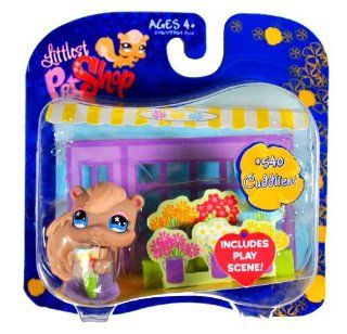 "Hasbro Year 2007 Littlest Pet Shop Exclusive Single Pack ""Cuddliest"" Series Bobble Head Pet Figure Set #540   Brown Squirrel with Play Scene (23163) Toys & Games"