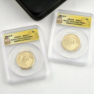 2012 ANACS MS67 P  and D Mint Native American Dollar Set