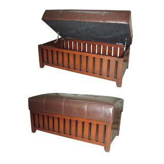 Wood and Brown Synthetic Leather Storage Bench Benches