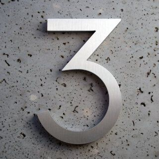 "Modern House Number Aluminum Modern Font Number Three ""3"" 6 inch Patio, Lawn & Garden"