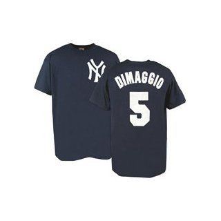 New York Yankees Cooperstown Name and Number Joe DiMaggio #5 T Shirt (Adult X Large) Clothing