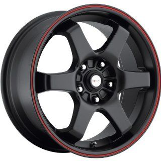 Focal X 16 Black Red Wheel / Rim 5x4.5 & 5x100 with a 42mm Offset and a 73 Hub Bore. Partnumber 421 6718R+42 Automotive