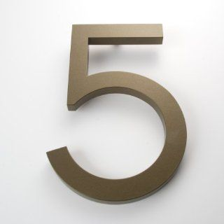 "Modern House Number Bronze Color Aluminum Modern Font Number Five ""5"" 6 inch  Address Plaques  Patio, Lawn & Garden"