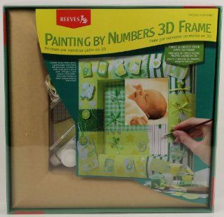Paint By Numbers 3 D Personalized Picture Frame Kit for Baby Girl or Boy Green   Childrens Paint By Number Kits