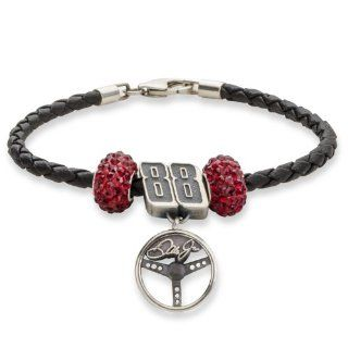 #88 Dale EarnHardt Jr Sterling Silver Two Dark Red Crystal Driver Number & Signature Steering Wheel Leather Bracelet Jewelry