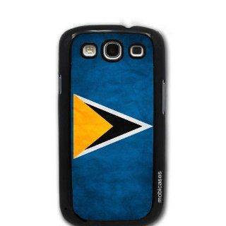 Flag of Saint Lucia Grunge   Protective Designer BLACK Case   Fits Samsung Galaxy S3 SIII i9300 Cell Phones & Accessories