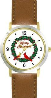 Red & Yellow Cardinals Bird in Merry Christmas Wreath   JP   WATCHBUDDY� DELUXE TWO TONE THEME WATCH   Arabic Numbers   Brown Leather Strap Size Large ( Men's Size or Jumbo Women's Size ) WatchBuddy Watches