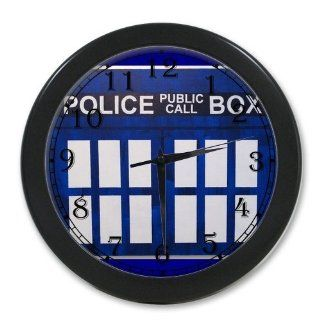 New Design Doctor Who Tardis Box Stylish Blue Print Black Wall Clock 10 Inch, Personalized Wall Clocks, Large Numbers