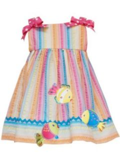 Rare Editions Baby girls Infant Striped Seersucker Dress, Orange/Multi, 24 Months Clothing