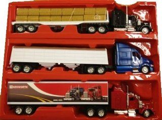 Deluxe Long Hauler Set 143 Die Cast Kenworth Semi Truck, Peterbilt Grain Hauler, Kenworth flat bed with bales (3 trucks total) Toys & Games