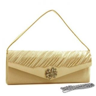 Pleated Evening Bag Clutch W/ Rhinestone Flower Brooch Champagne Satin Shoes