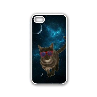 Hipster Space Black Smoke Cat White iPhone 5 & 5S Case   Fits iPhone 5 & 5S Cell Phones & Accessories