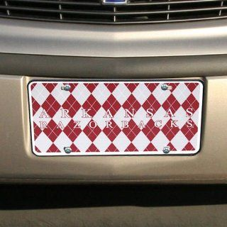 NCAA Arkansas Razorbacks Argyle License Plate Tag   Cardinal/Gray  Sports Fan License Plate Covers  Sports & Outdoors