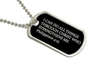 I Can Do All Things Through Christ   Military Dog Tag Keychain Automotive