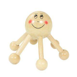 Smiling Face Head Rolling Ball Legs Round Point Head Dark Beige Wood Massager Health & Personal Care