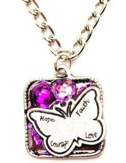 "Hope Faith Courage Love Inspirational Purple Butterfly 18"" Fashion Necklace ChubbyChicoCharms Jewelry"
