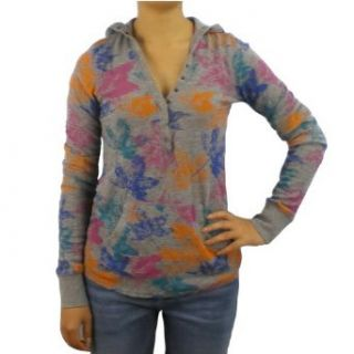 Womens Billabong gray pullover hoodie fleece. Very high quality skate, surf brand name pullover sweater with a button front closure from chest, front kangaroo pouch, head turning colorful designs all over and small logo embroidered on the front of the top.