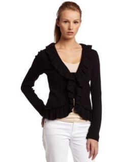 Red Dot Women's Cotton Long Sleeve Ruffle Jacket, Black, Small Clothing