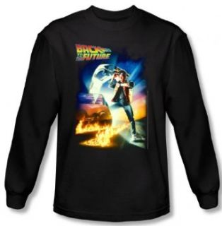 Back to the Future   Movie Poster Design Men's Long Sleeve T Shirt Home & Kitchen