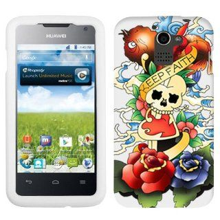 Huawei Premia Keep Faith Skull on White Phone Case Cover Cell Phones & Accessories