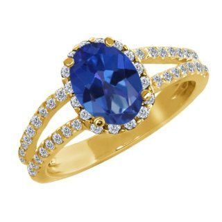 2.08 Ct Oval Sapphire Blue Mystic Topaz White Diamond 18K Yellow Gold Ring Jewelry