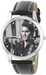 Elvis Presley Women's EP103 Classic Round Black Polyurethane Strap Watch Watches