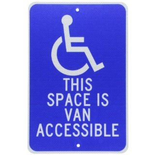 "NMC TM104J Handicap Parking Sign, Legend ""THIS SPACE IS VAN ACCESSIBLE"" with Graphic, 12"" Length x 18"" Height, 0.080 Engineer Grade Prismatic Reflective Aluminum, White on Blue Industrial Warning Signs"