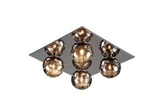Artcraft Lighting AC124 Nebula Contemporary 4 Light Flush Mount Ceiling Light In Polished Chrome With Metallic Plated Glassware Shade